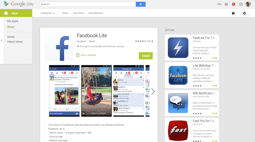 Facebook Launches Facebook Lite App, Not Made for