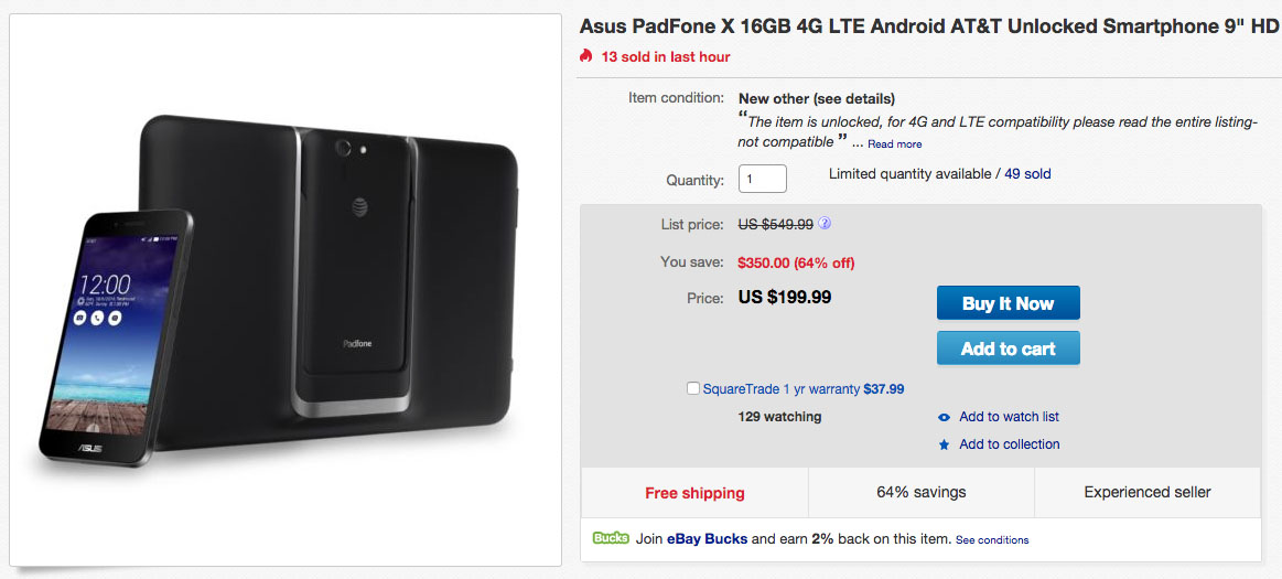 Deal: Unlocked ASUS Padfone X With Tablet Dock for $199 ...