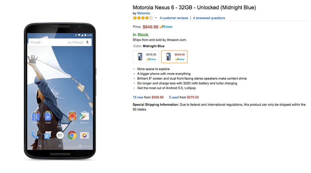 amazon nexus 6