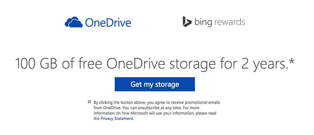 bing onedrive free 100gb