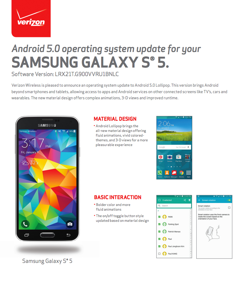 galaxy s5 lollipop verizon