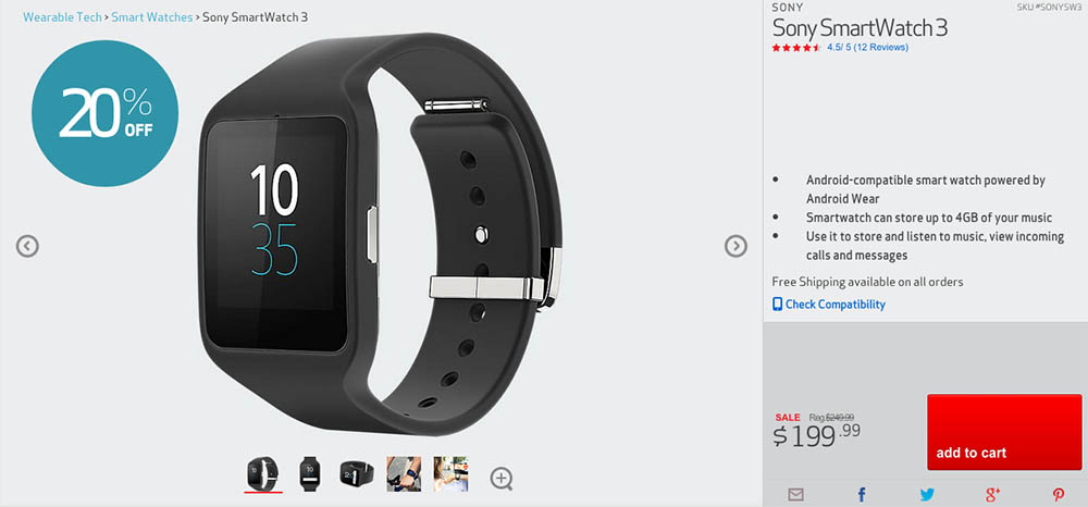 Deal: Sony Smartwatch 3 Slashed to $199 at Verizon ($50 Off
