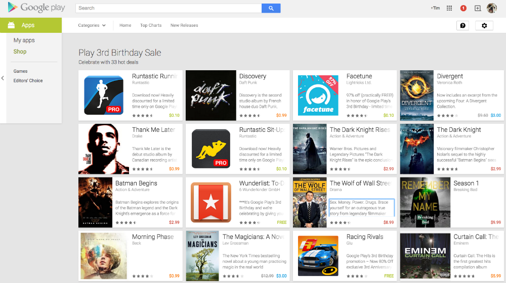 Google Play Birthday Sale