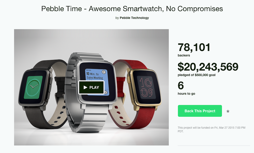 Last Day for Pebble Time on Kickstarter, Surpasses $20 ...