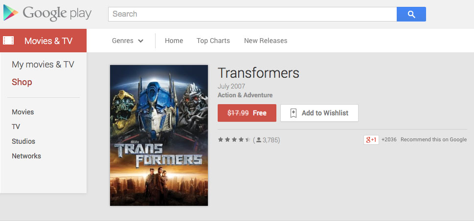free on google play first transformers movie and coldplay s ghost