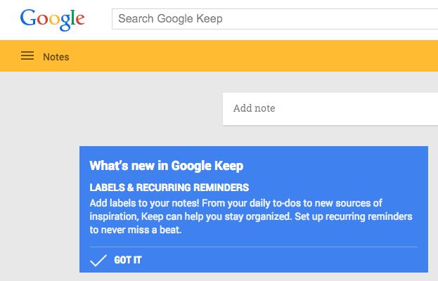 google keep folders