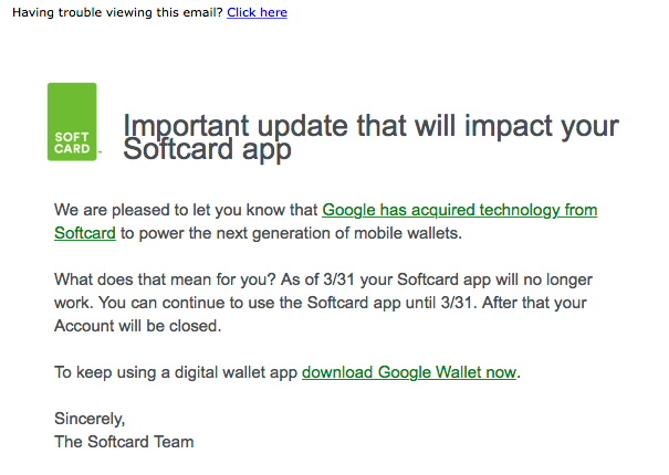 softcard shutdown