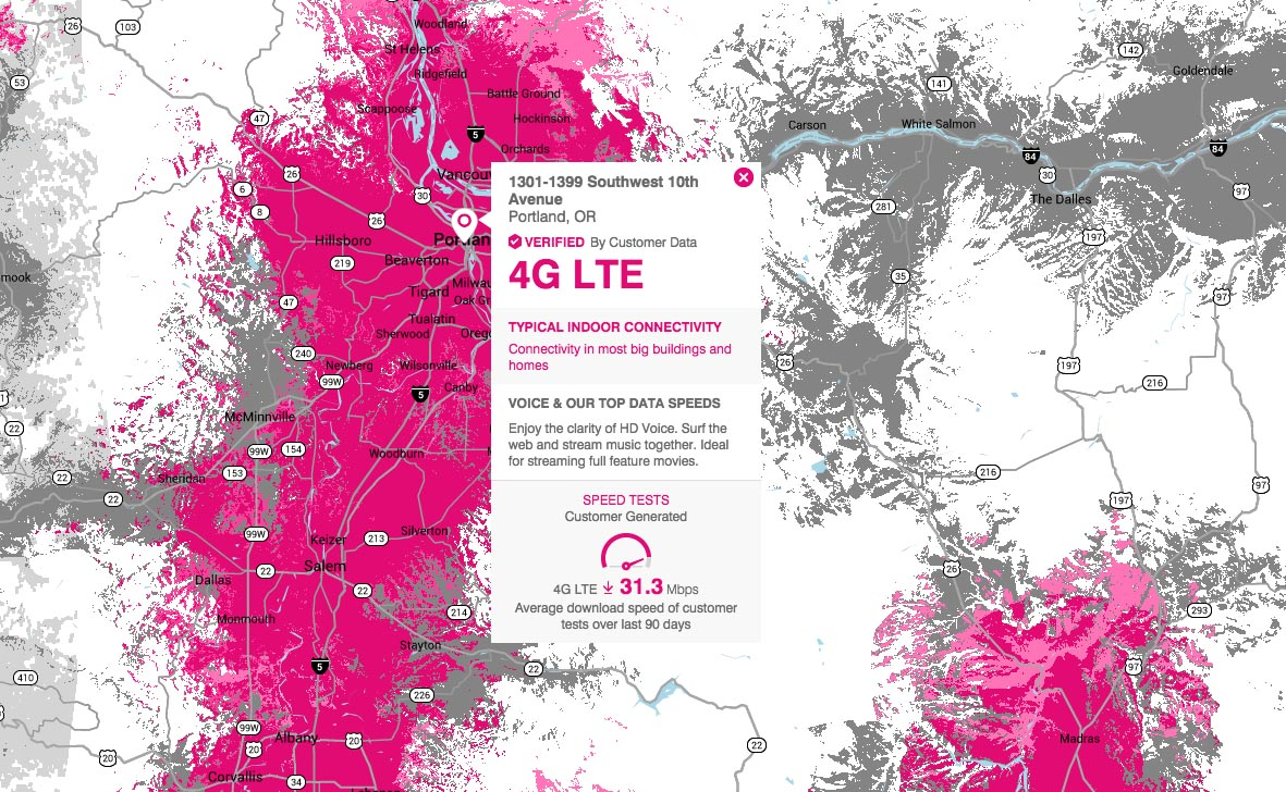 tmobile oregon coverage