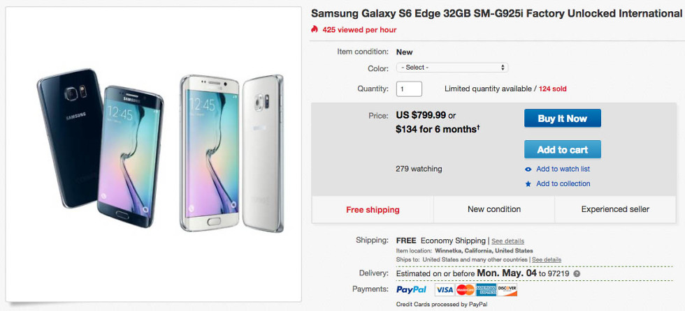 Deal: New Unlocked Galaxy S6 Edge (SM-G925i) for $799