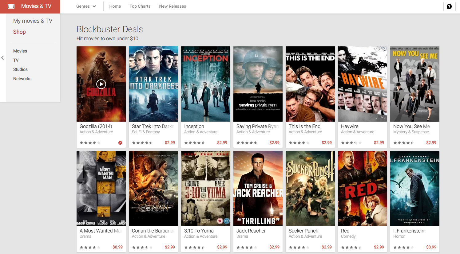 Google play has some great hd movies on sale for under 10 for Movie photos for sale
