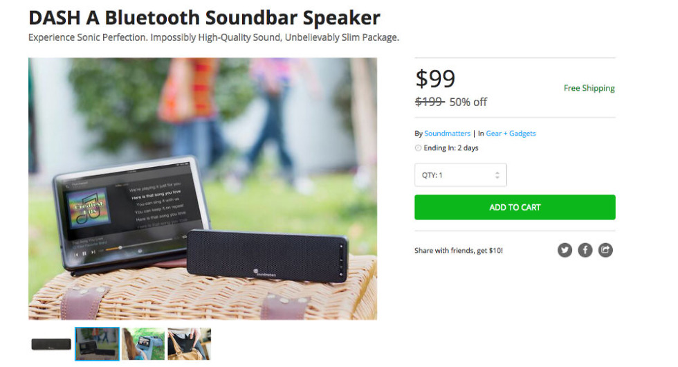 Double Deal: DASH A Bluetooth Soundbar Speaker for $99, or the