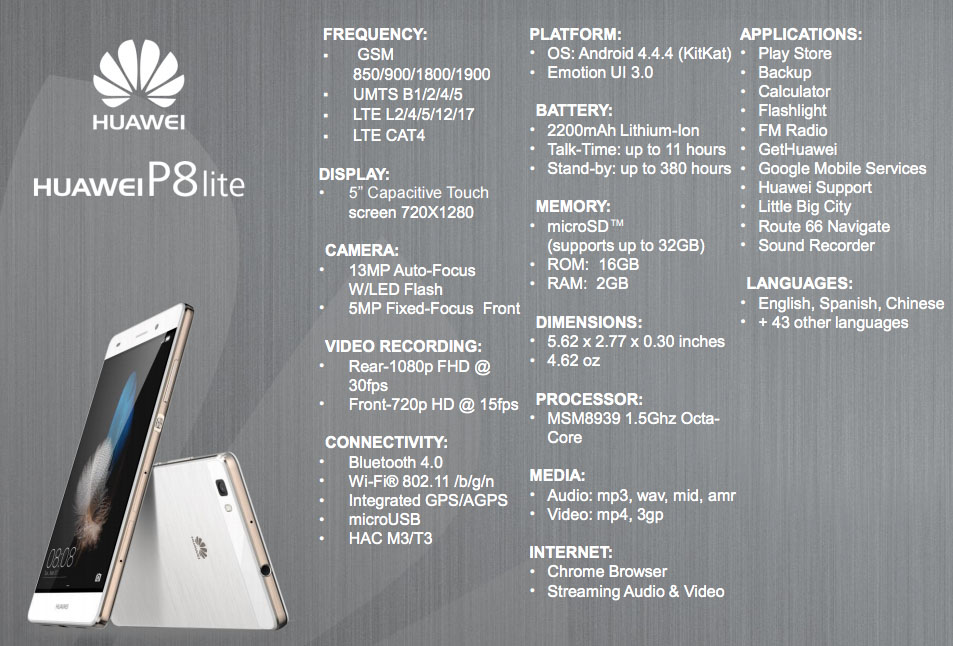 huawei p8 specification. huawei p8 lite specs specification i