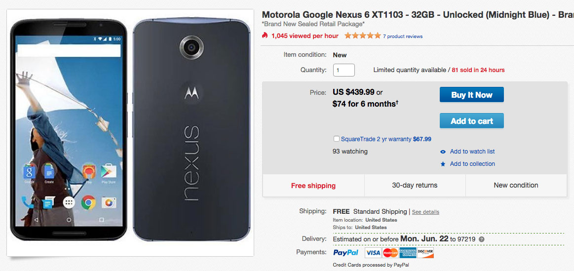 nexus 6 deal