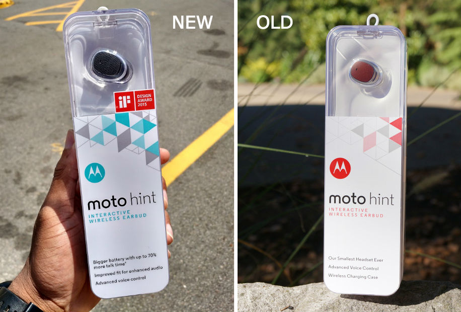 motorola hint. motorola has spruced it up a bit, highlighting new attributes of the device on lower portion box. hint