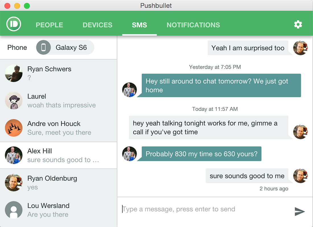 pushbullet sms desktop