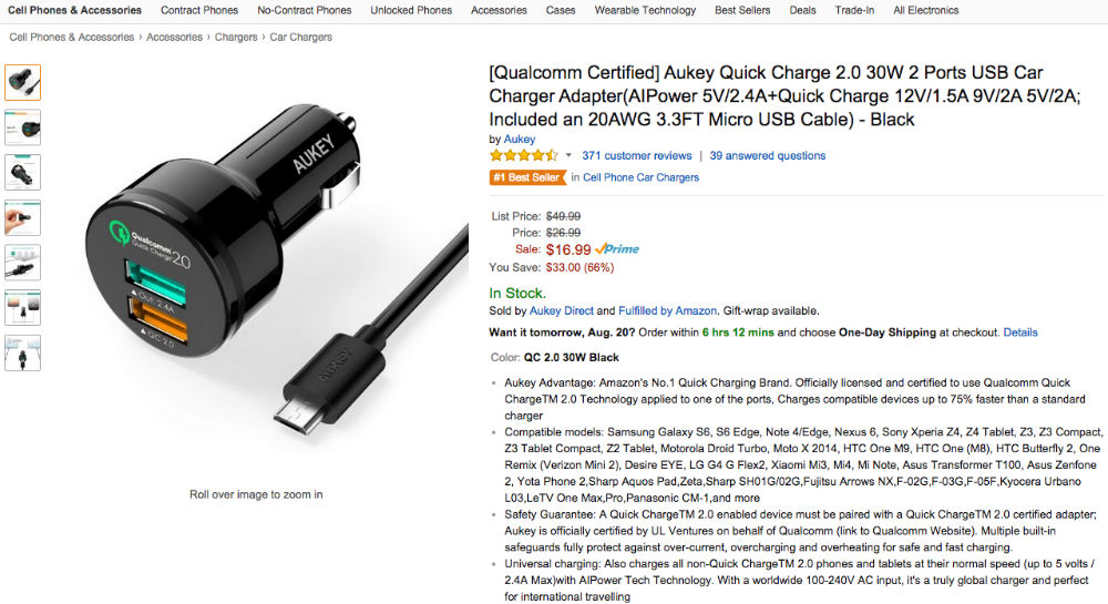 Deal: Aukey Quick Charge 2.0 Car Charger for $9.49 With Discount Code