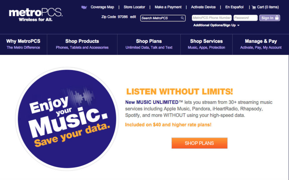 MetroPCS Intros Music Unlimited, Streaming That Won't Count Against