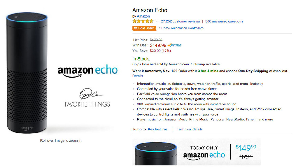 DEAL: Amazon Echo Drops to $149 Today Only ($30 Off) – Droid