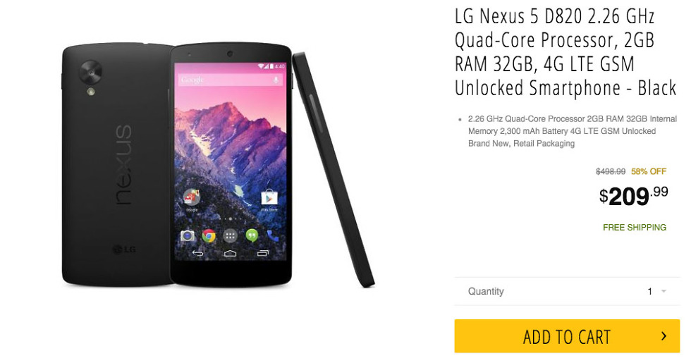 nexus 5 deal newegg