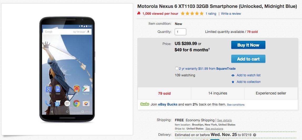 nexus 6 deal ebay
