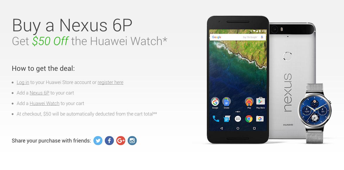 nexus 6p huawei watch deal