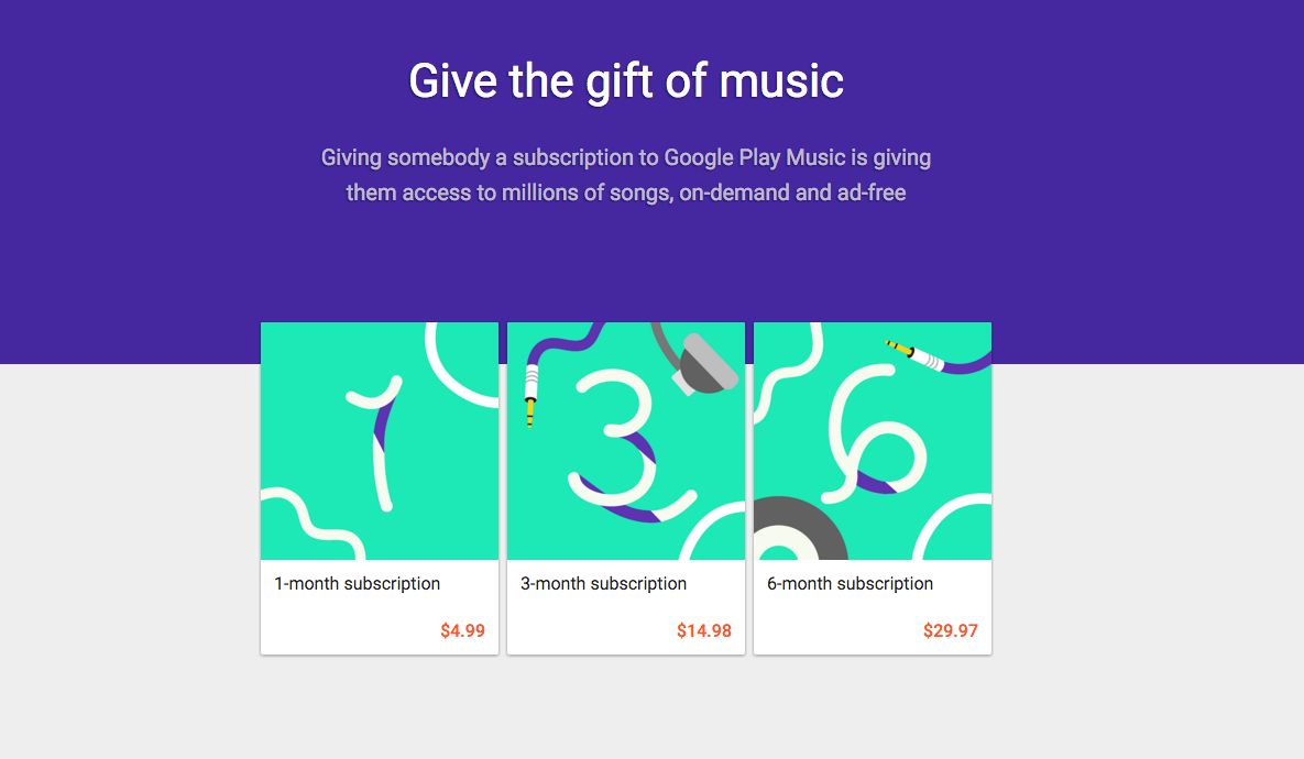 Google Play Music Gift Subscriptions Listed at 50% Off For V