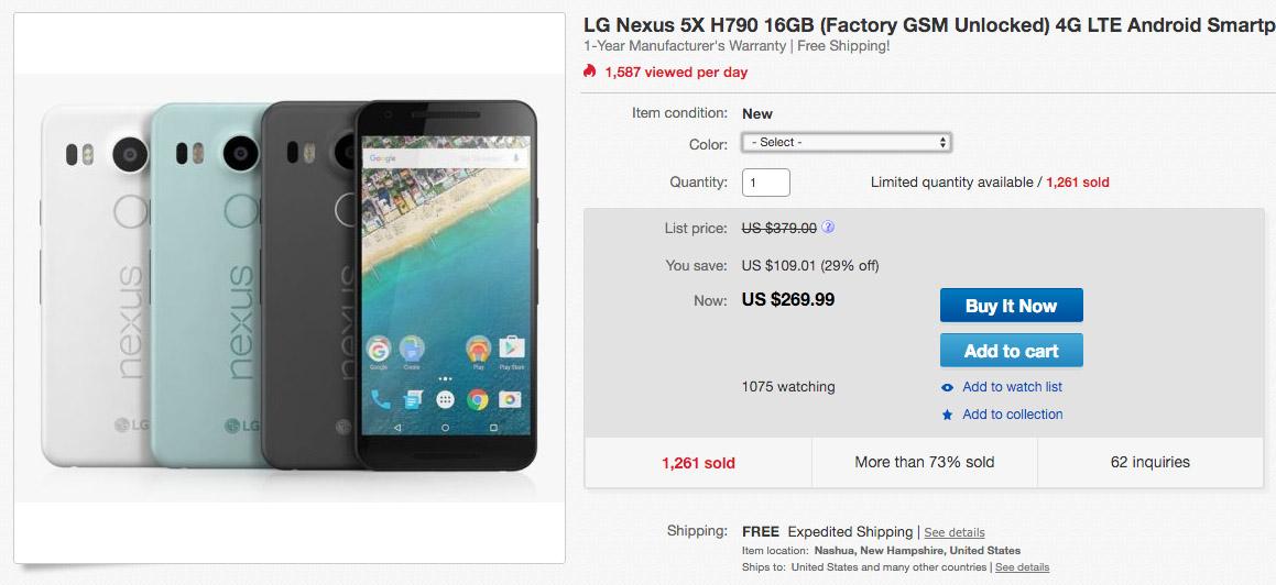 nexus 5x deal ebay