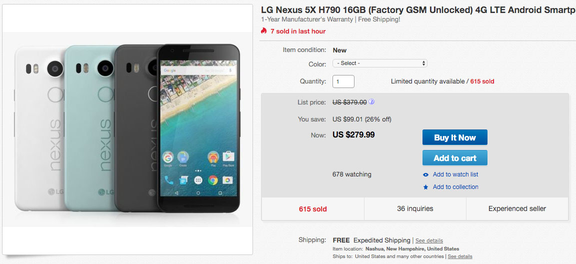 best nexus 5x deal