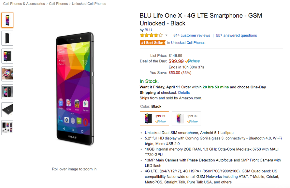 Deal: BLU Life One X for $99 on Amazon, $50 Off List Price