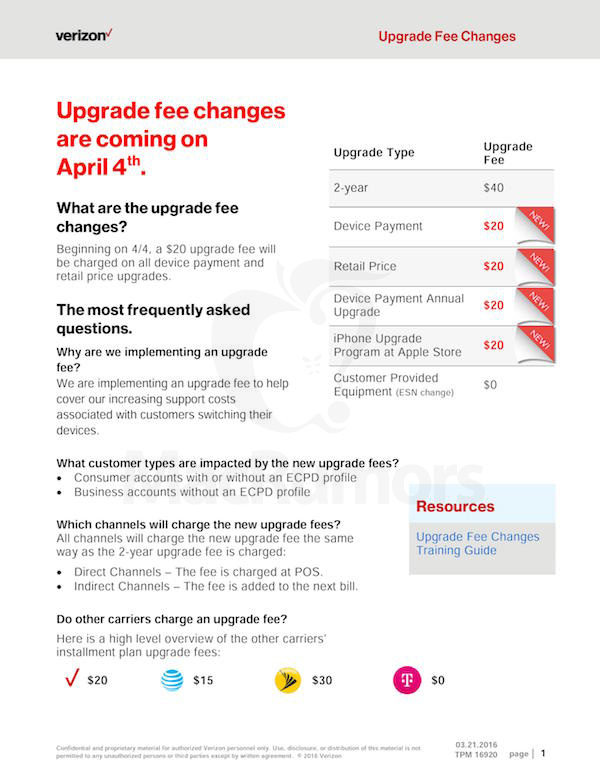 verizon upgrade fee