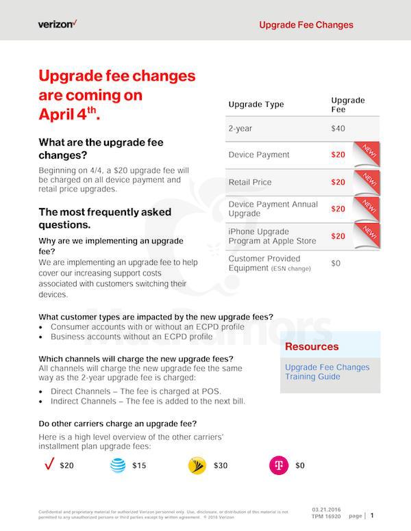verizon upgrade fee