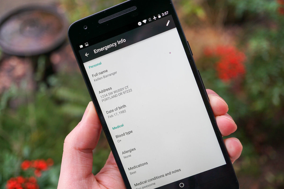 android n emergency info