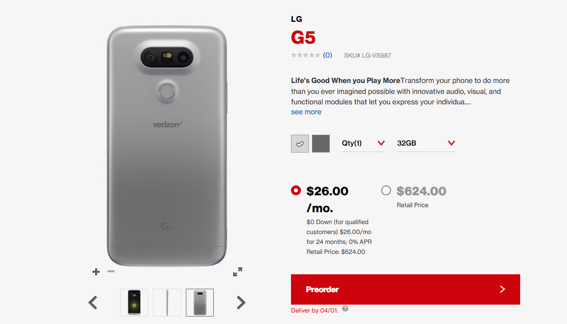 Verizon Lg G5 Pre Orders Are Now Open Includes Free 360