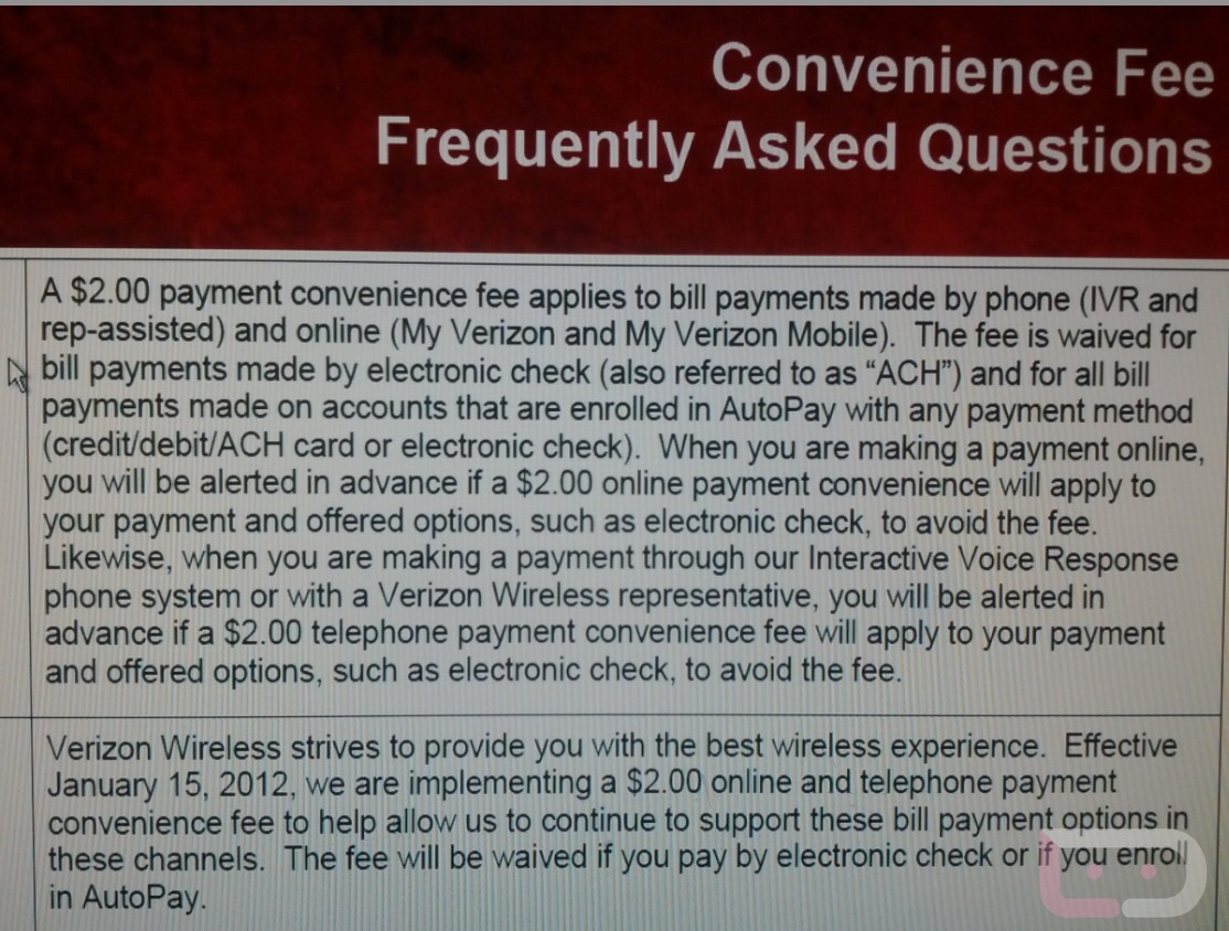 verizon convenience fee