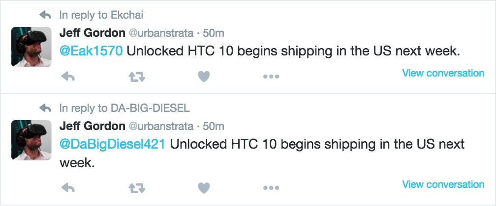 htc 10 shipments