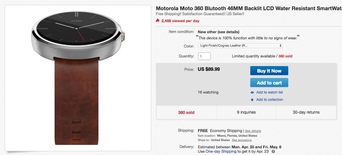 moto 360 deal ebay