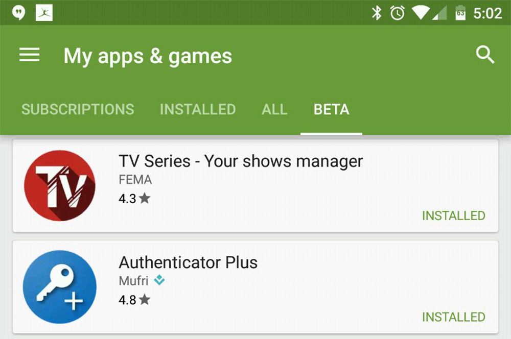 google play beta column