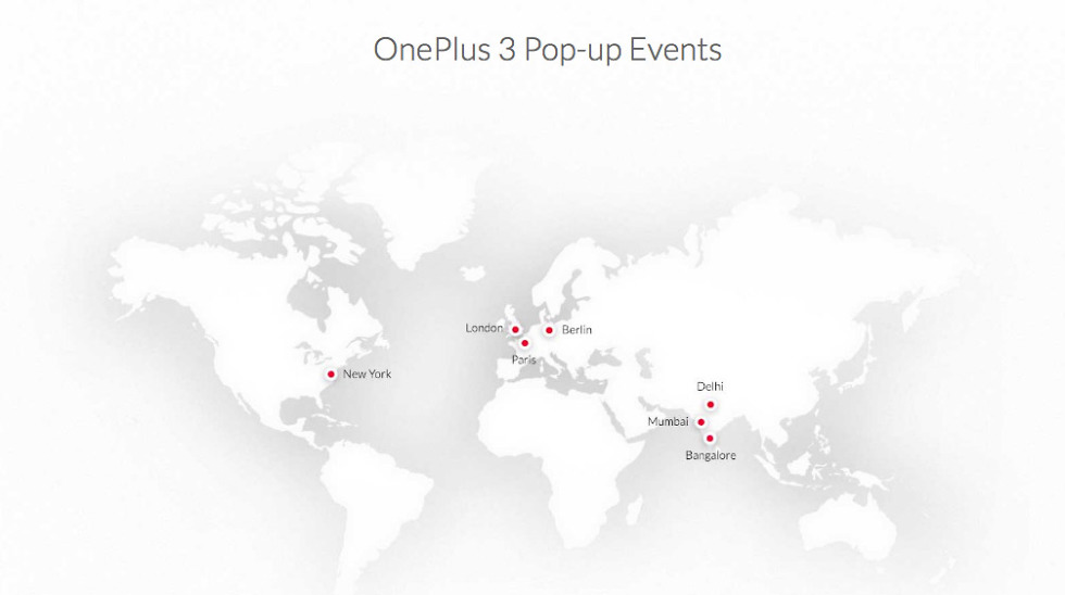 oneplus 3 pop-up shops