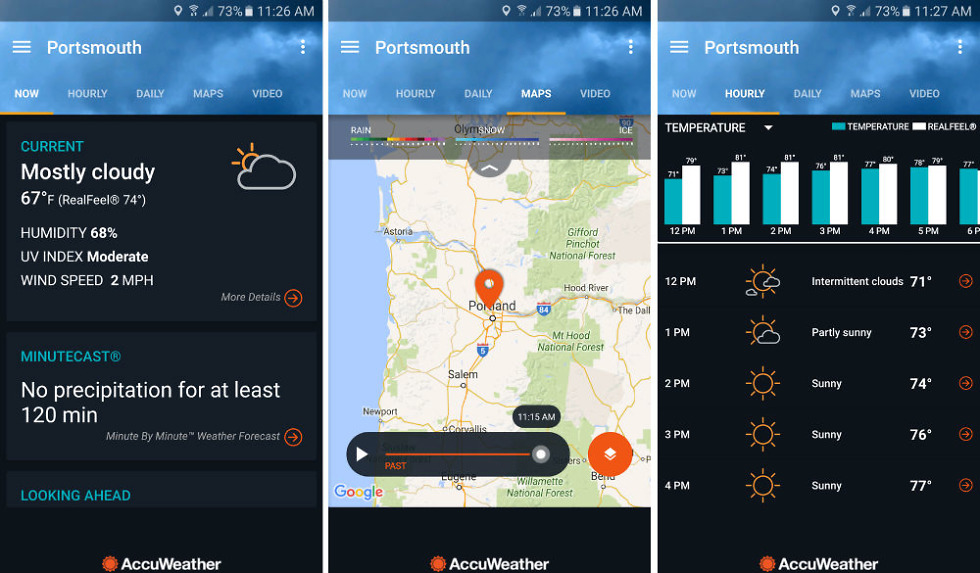 Accuweather App Updated With Dark Theme Future Radar And Graphs