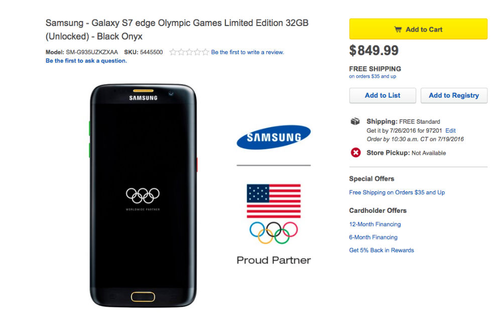 Galaxy S7 Edge Olympic Edition Costs Some Serious Gold