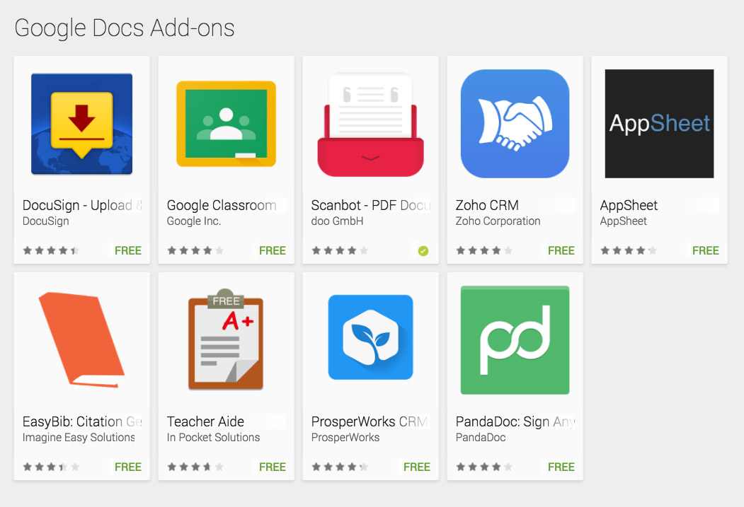 Google docs and sheets gain app add ons on android droid for Google docs app for windows