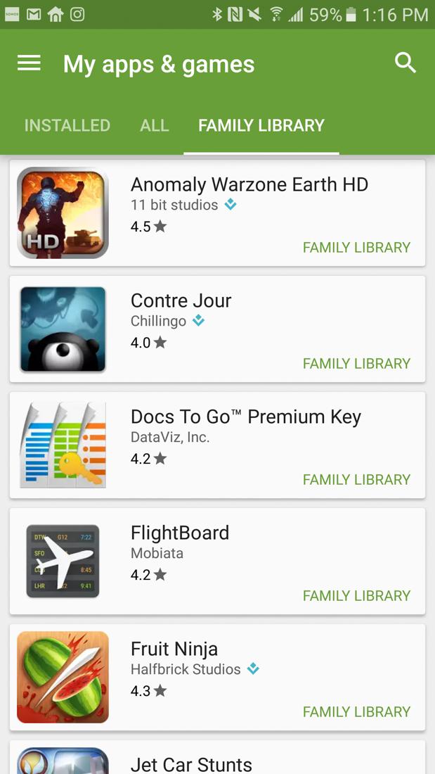 google play family plan screens