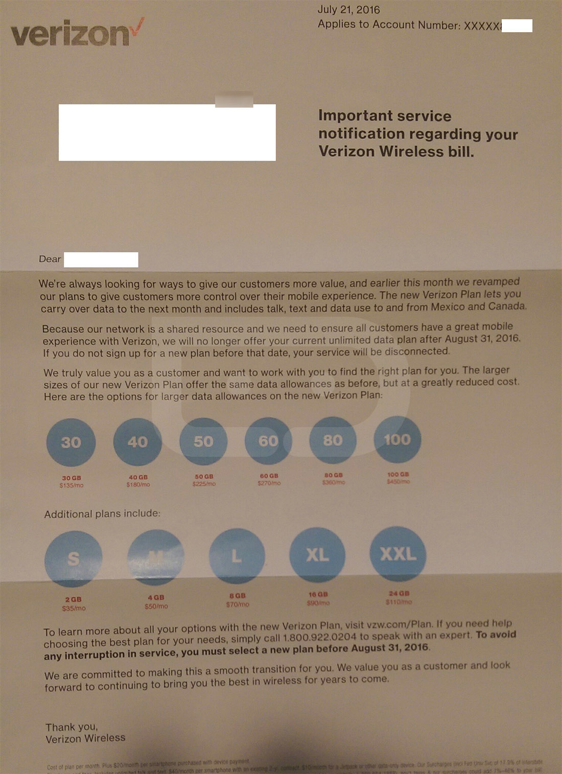 verizon unlimited letter