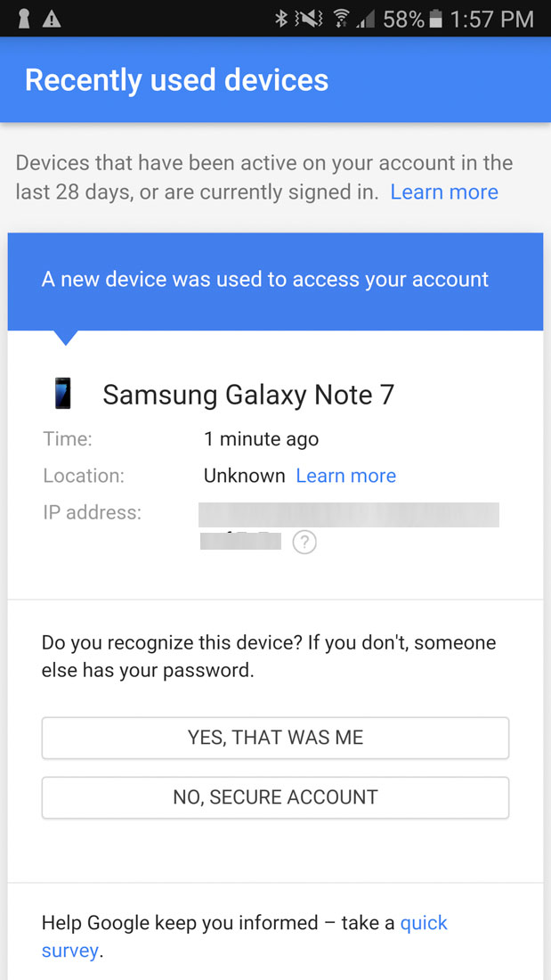 android native login notifications