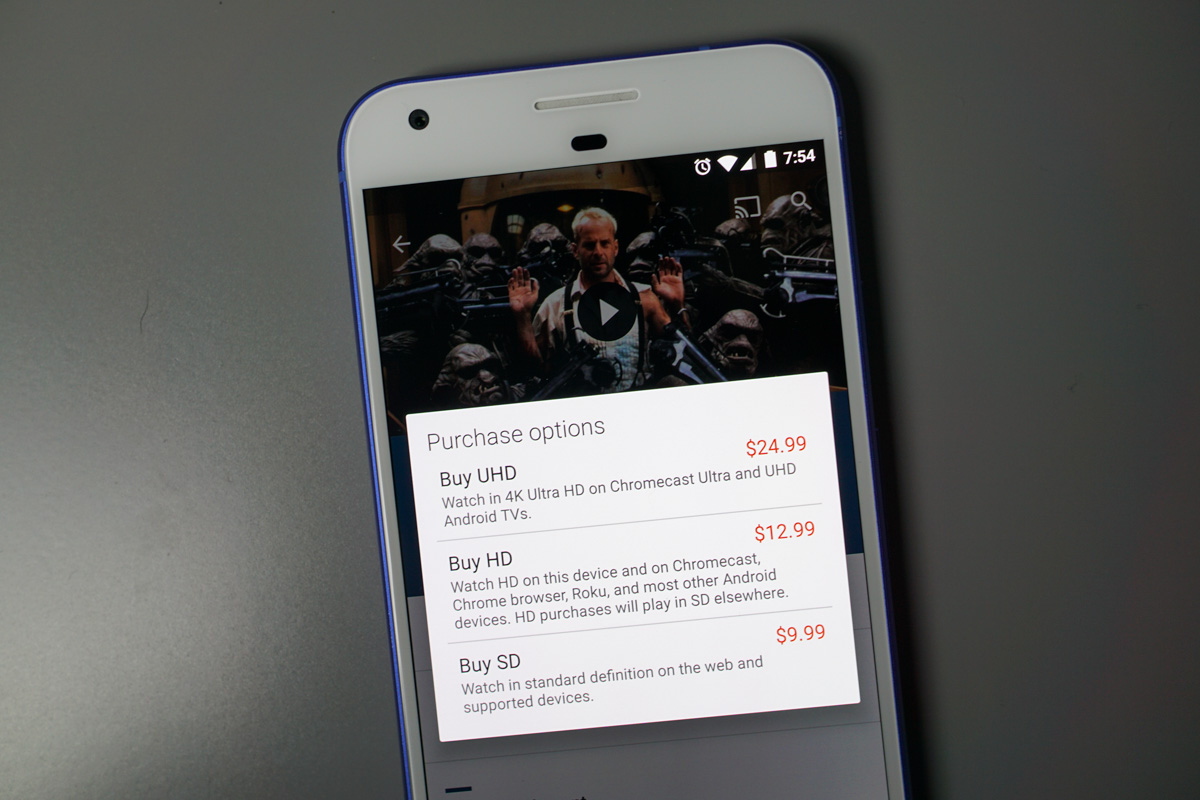 Google Play Movies' 4K content is nearly twice the price of HD