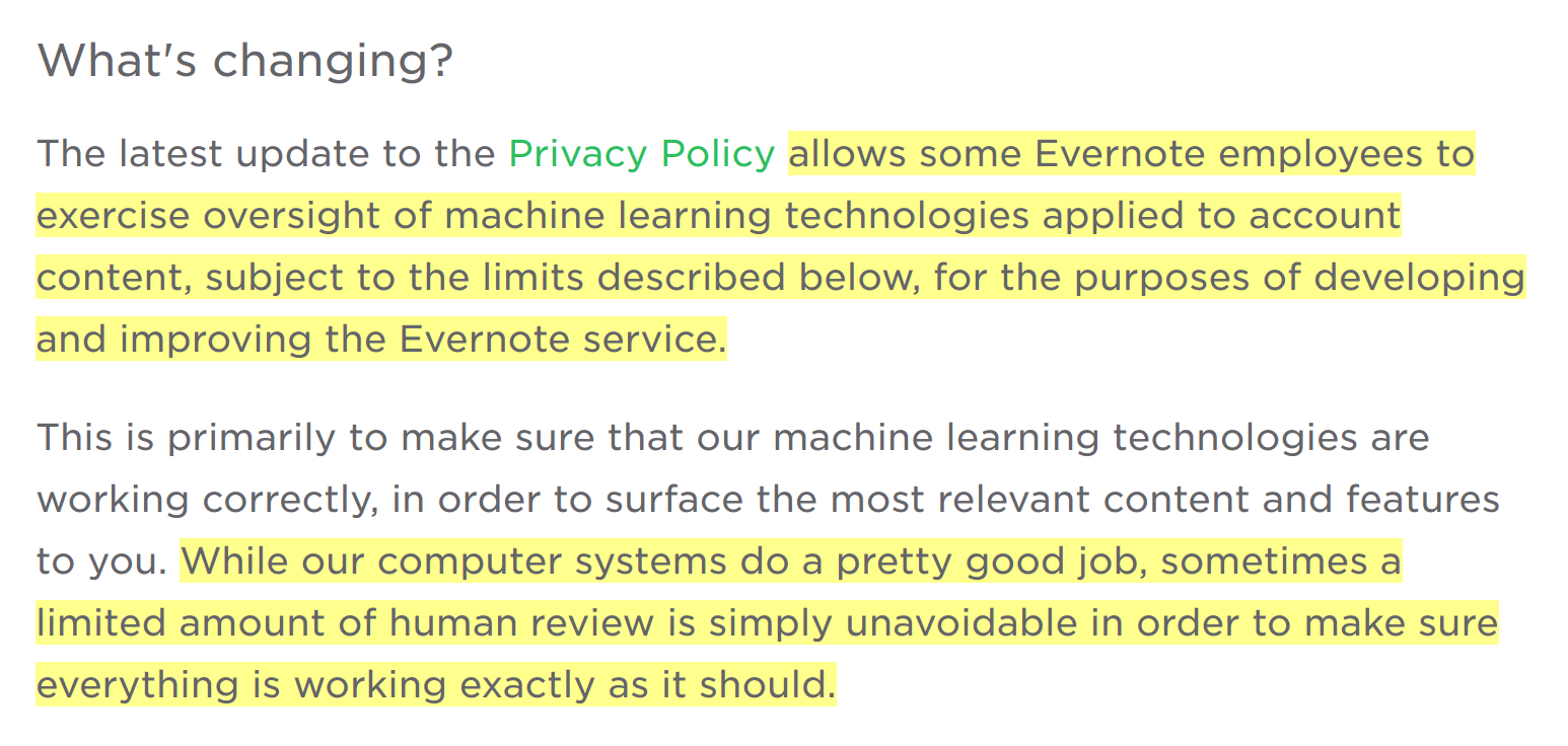 evernote privacy policy