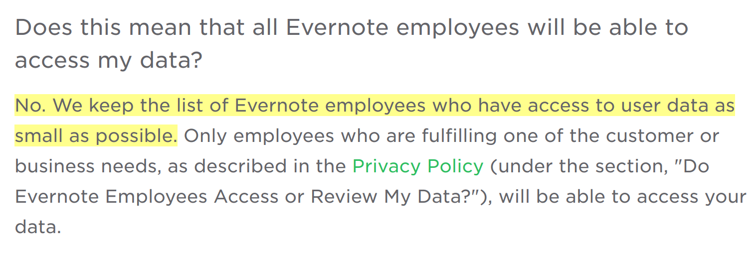 evernote privacy policy