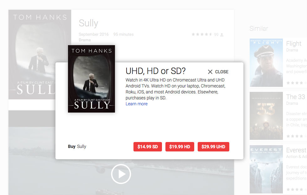 Google Play now offering 4K movies