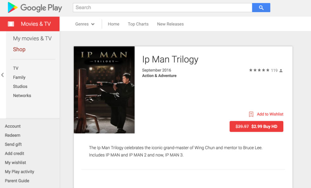 DEAL: Ip Man Trilogy Available in HD For $3 on Google Play