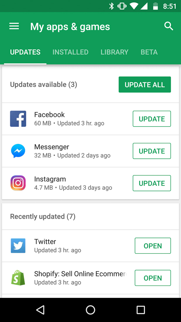 """Fully Revamped """"My Apps & Games"""" Google Play Section Seems ..."""